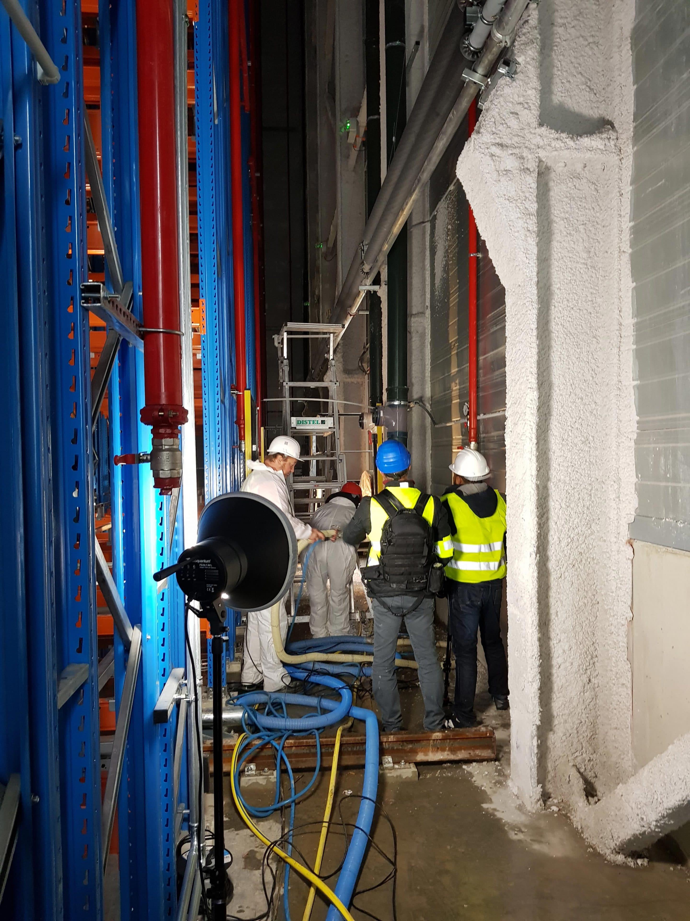 Tournage ISOPROM sur chantier de flocage fibreux à Issenheim